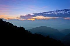 Doi Ang Khang, Chiang Mai, Thailand. View the natural beauty of the hill at sunrise. Doi Ang Khang mountains. Chiang Mai. Thailand Stock Images