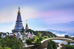 Doi Inthanon, Chiang Mai, the highest mountain in Thailand. Naphamethinidon and Naphaphonphumisiri Pagodas at the summit of Doi Inthanon is a popular tourist stock photography