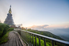 Doi Inthanon and morning mist, mountain in Thailand Royalty Free Stock Images