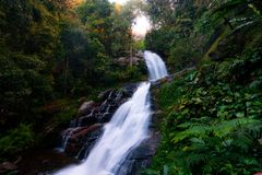 Doi Inthanon National Park in Thailand. Beautiful Waterfall in the National Park. Most beautiful Park in the near of Chiang Mai. stock image