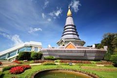 Doi Inthanon pagoda and park against blue sky Royalty Free Stock Photo
