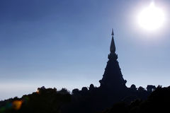 Doi Inthanon Temple 6. Doi Inthanon Hills, Temple on top of a tallest mountain of Thailand stock images