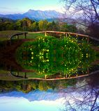 Doi luang chiang dao mountain at chiangmai thailand in mirror  effect Royalty Free Stock Photos