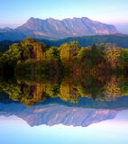 Doi luang chiang dao mountain at chiangmai thailand in mirror  effect Stock Photos