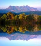 Doi luang chiang dao mountain at chiangmai thailand in mirror  effect Stock Photos