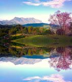 Doi luang chiang dao mountain at chiangmai thailand in mirror  effect Stock Photography