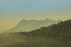 Doi Luang Chiang Dao. Mountain with mist landscape in the morning, Doi Luang Chiang Dao, Thailand Stock Photo