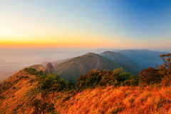 Doi luang national park on sunset Royalty Free Stock Images