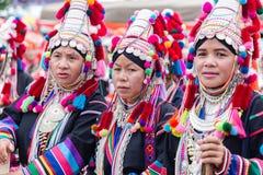 Portrait of beautiful group asian lady Akha tribe. Doi Mae Salong, Chiang Rai - THAILAND, September 8, 2018 : Portrait of beautiful group asian lady Akha tribe stock image