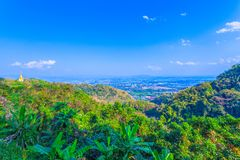 At Doi Pha Mee view point you can see Doi Nangnon in Maesai Chiang Rai shape of mountains look like women sleeping. Inside of Doi Nang Non have big and long stock images
