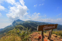Doi Pha Tang in Wiang Kaen district,Chiang Rai,Thailand. Doi Pha Tang is a viewpoint on top of a high cliff over the Thai-Laotian border affording a delightful stock photos