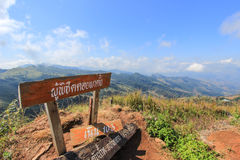 Doi Pha Tang in Wiang Kaen district,Chiang Rai,Thailand. Doi Pha Tang is a viewpoint on top of a high cliff over the Thai-Laotian border affording a delightful stock images