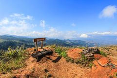 Doi Pha Tang in Wiang Kaen district,Chiang Rai,Thailand. Doi Pha Tang is a viewpoint on top of a high cliff over the Thai-Laotian border affording a delightful royalty free stock photography