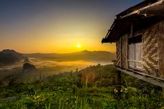 Doi Phulangka bij zonsopgang Royalty-vrije Stock Afbeeldingen