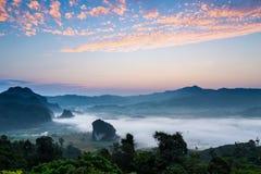 Doi Phulangka at sunrise. Province Phayao Stock Photos