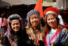 Doi Poi, Thailand: Three Thai Women in Traditional Clothing Stock Images
