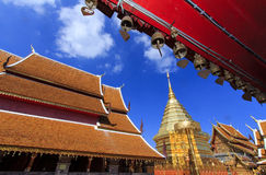 Doi Suthep temple golden pagoda in Chaingmai Stock Image