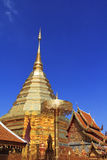 Doi Suthep temple golden pagoda in Chaingmai Royalty Free Stock Photography