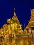 Doi Suthep temple at twilight, landmark of Chiang Mai, Thailand Royalty Free Stock Photos