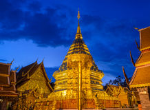 Doi Suthep temple at twilight, landmark of Chiang Mai, Thailand Royalty Free Stock Images