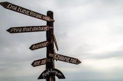 Doi Tung Signpost. Familiar signpost at the Doi Tung view point stock photo