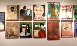 Doig exhibition. Peter Doig, modern famous painter, not only do paintings. He also produces posters for Studio Films in Trinidad where he lives. Exhibition on Royalty Free Stock Images