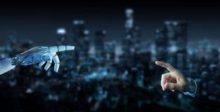 Doigt blanc de cyborg environ pour toucher le rendu humain du doigt 3D illustration stock