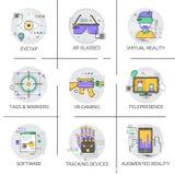 Doigt dépistant la collection visuelle moderne réglée de technologie d'icône d'Access de dispositif Image stock