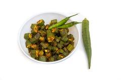 Doigt de Bhindi ou de Lasd, plat de gombo photographie stock libre de droits