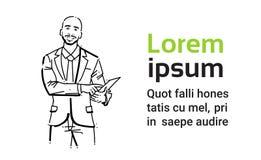 Doigt de point d'homme d'affaires au portrait de papier d'homme d'affaires de concept sur le croquis blanc de silhouette d'aspira illustration stock