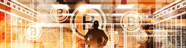 Doigt de point d'homme d'affaires de silhouette à la crypto technologie d'argent de Web de Digital de concept de devise de Bitcoi Photo stock