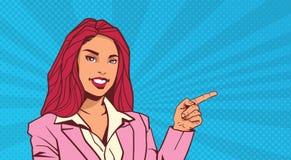 Doigt de sourire de point de femme d'affaires pour copier l'espace au-dessus du bruit Art Dot Background Retro Style Photo libre de droits