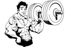 Doigt du poids soulevé par bodybuilder musculaire un Image libre de droits