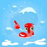 Doigt rouge de Santa Boots Cartoon Character Point  Image stock