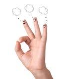 Doigts corrects heureux avec des bulles et des signes de la parole Image libre de droits