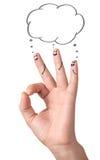 Doigts corrects heureux avec des bulles et des signes de la parole Photo stock