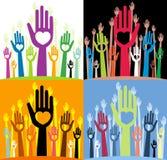 Doigts droits avec de diverses formes de coeur Images libres de droits