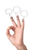 Doigts en bon état heureux avec des bulles et des signes de la parole Images stock