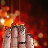 Doigts famille et Noël photographie stock
