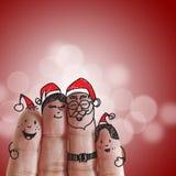 Doigts famille et Noël photographie stock libre de droits