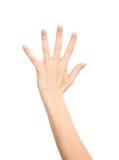 Doigts femelles Manicured du numéro cinq de geste de main vers le haut Photographie stock