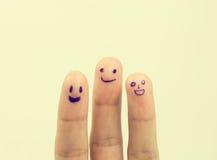 Doigts heureux de famille dans l'amour Image stock