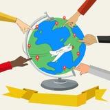 Doigts montrant des endroits sur le globe Images stock