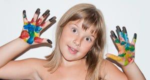 Doigts peints par fille Photos libres de droits