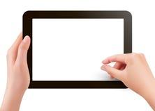 Doigts pinçant pour changer de plan écran de la tablette s Images stock