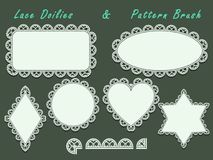 Doilies lace ornament set and pattern brush. Stock Photo