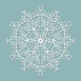 Doily δαντελλών εγγράφου, διακοσμητικό snowflake, κύκλος Στοκ Εικόνες