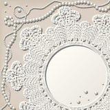 Doily del Crochet con la collana della perla illustrazione vettoriale