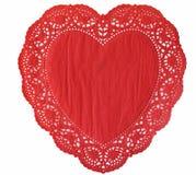 Doily del cuore Fotografie Stock