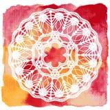 Doily laçado elegante. Fazer crochê a mandala. ilustração royalty free